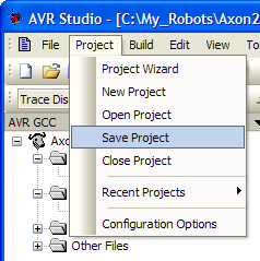 Save AVR Studio Project Configuration