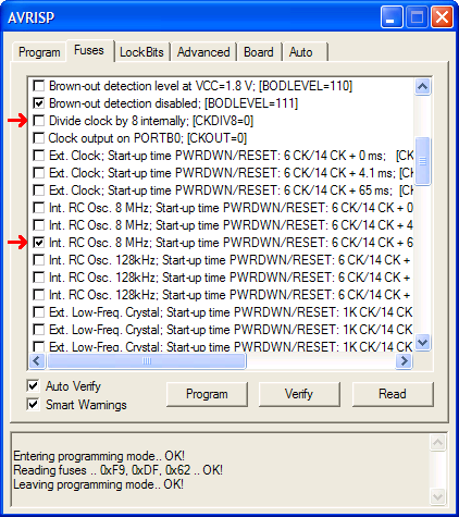 AVR Clock Settings
