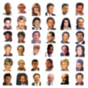 Tiny and blurry, yet recognizable faces