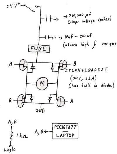 How to Build a Robot Tutorials - Society of Robots H Bridge Mosfet Schematic on pwm 24khz motor control schematic, bipolar h bridge schematic, igbt h bridge schematic, full bridge mos fet schematic,