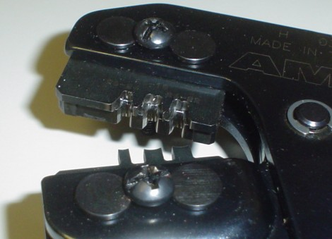 close-up of crimpers